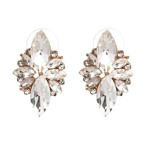 Cercei aurii cu cristale albe Rafaella