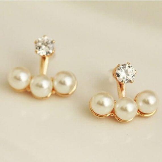 Cercei perle albe si cristal alb Chic