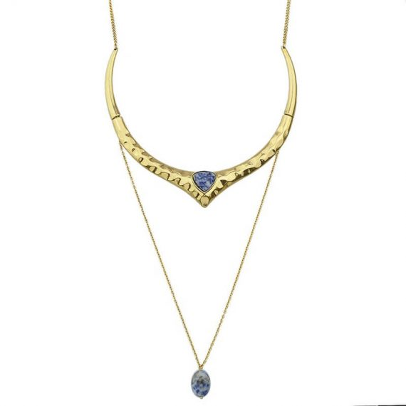 Choker auriu multisir cu pandantiv piatra albastra Vanda