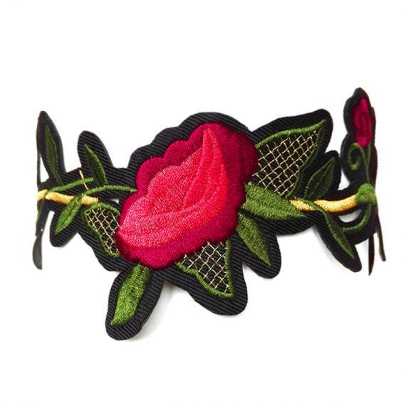 Choker dantela cu trandafiri rosii Rose