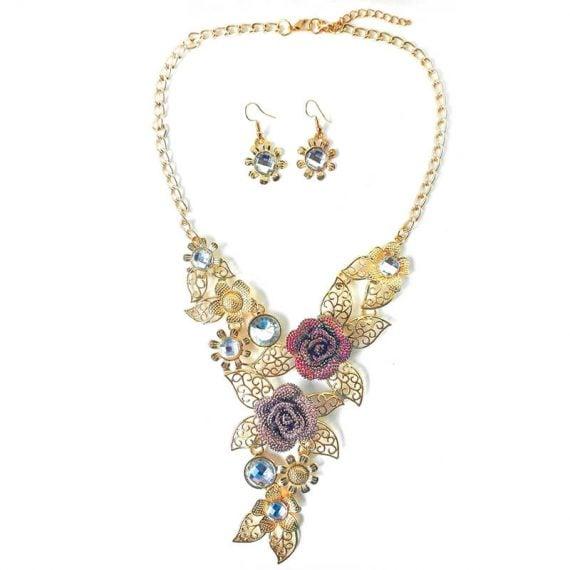 Set-colier-auriu-cu-trandafiri-rosii-si-violet-Spring