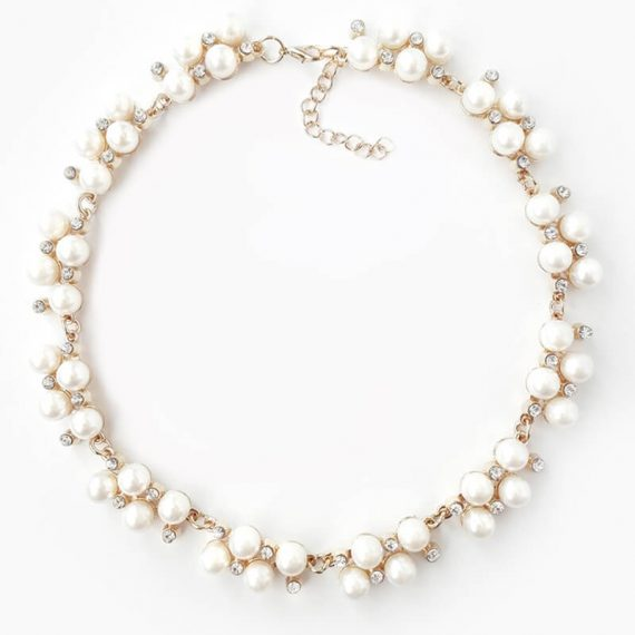Colier auriu cu perle si strasuri Pearl