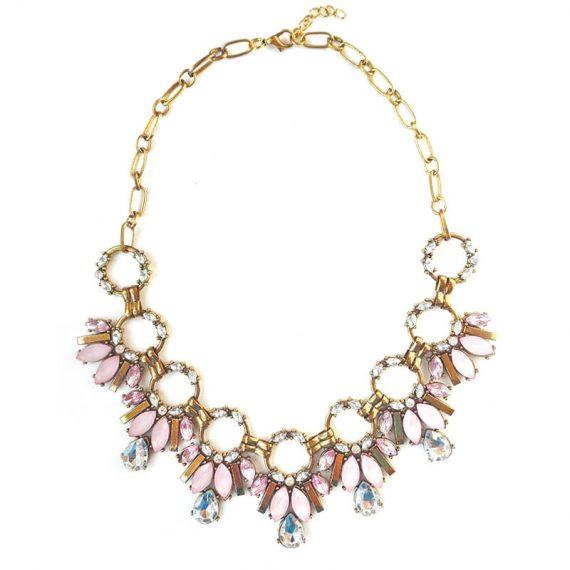 Colier auriu patinat cu cristale albe si roz pastel Claudia