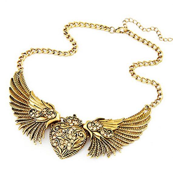 Colier auriu aripi si inima Wings