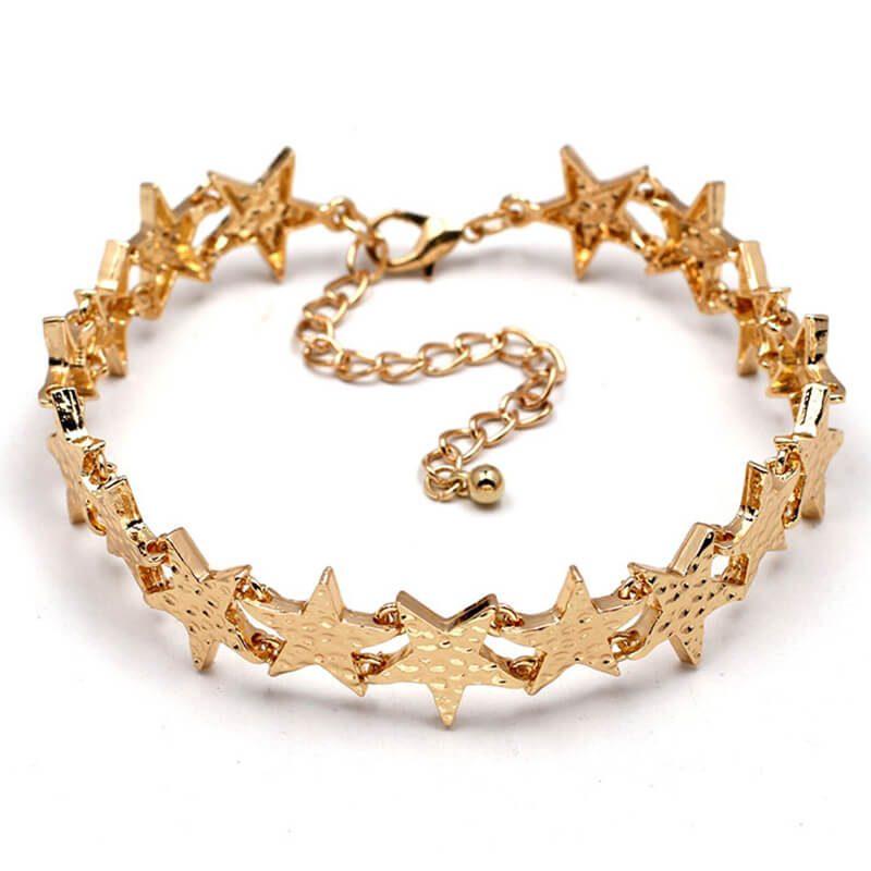 Set chokere piele cu stele aurii Gold Stars