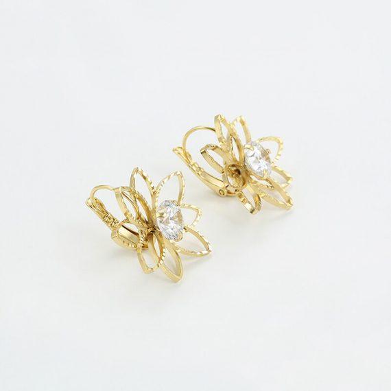 Cercei Flower Mist placati cu aur 14K
