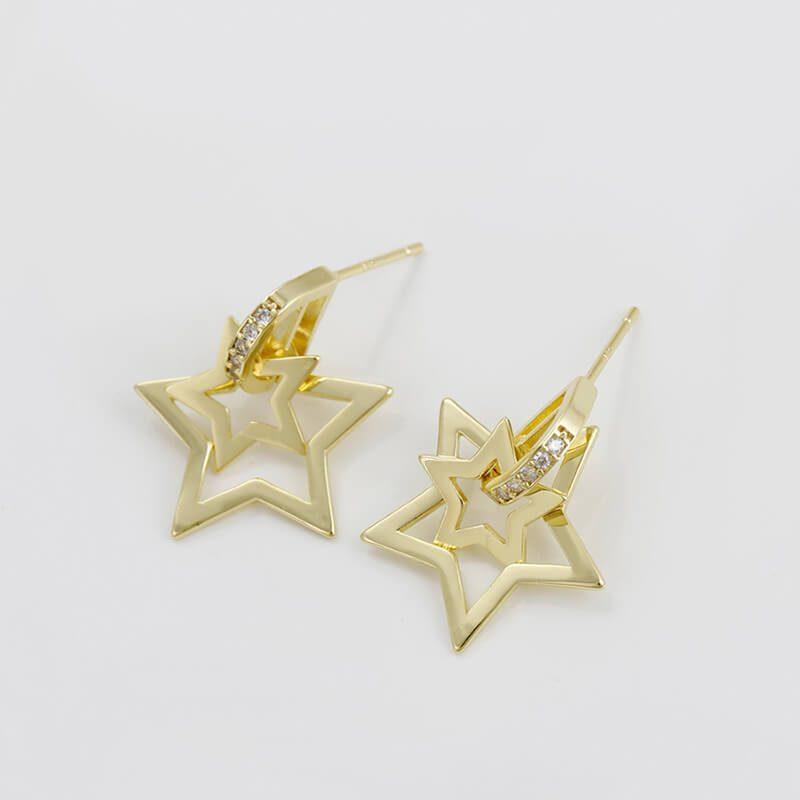 Cercei Gold Stars placati cu aur 14K