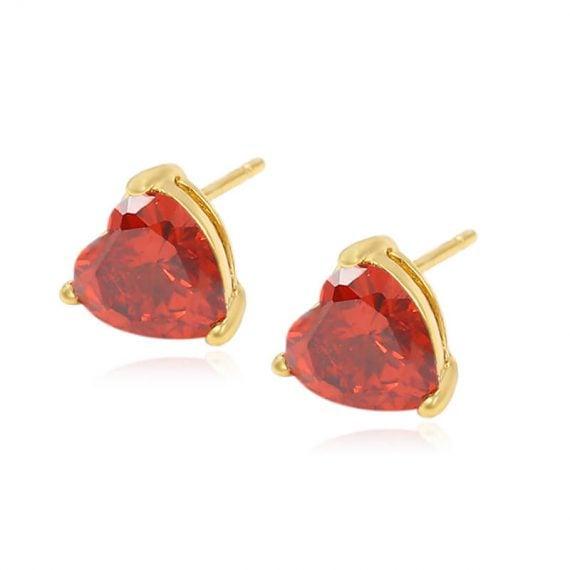 Cercei Red Heart placati cu aur 24K