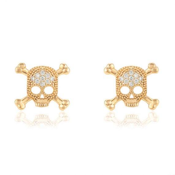 Cercei Skull placati cu aur 18K