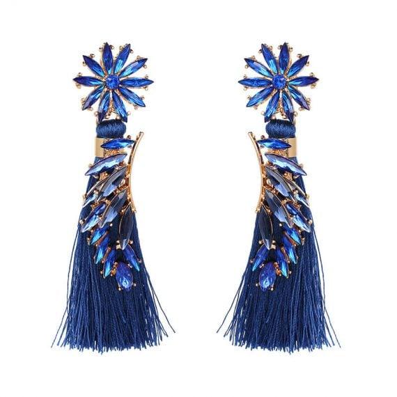 Cercei albastri lungi cu ciucuri si cristale albastre Midnight in Paris