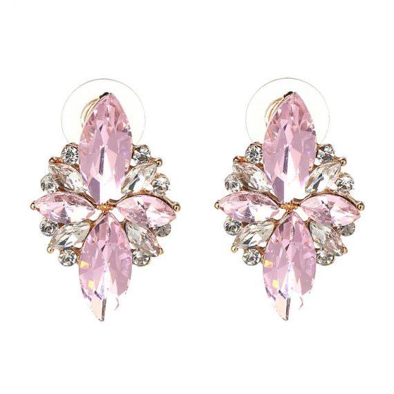 Cercei aurii cristale roz si albe Rafaella Pink