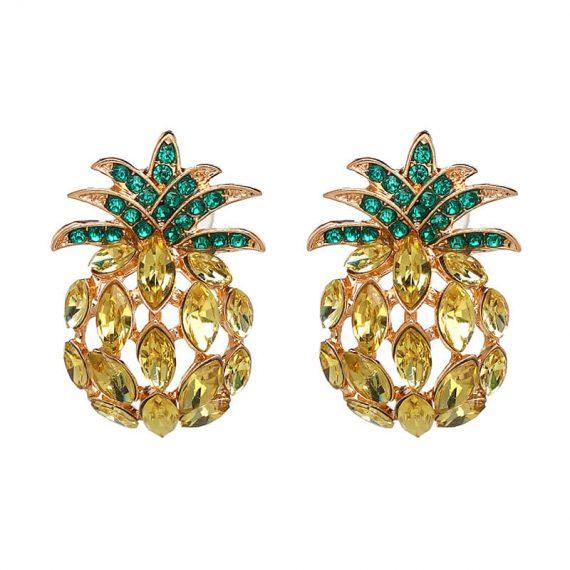 Cercei aurii cu cristale galbene si verzi forma ananas Pineapple
