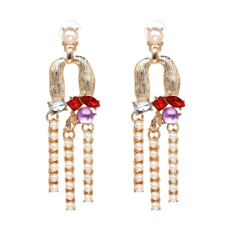 Cercei lungi aurii cu cristale rosii si albe si perle Anisia