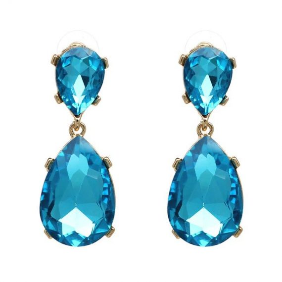 Cercei lungi cristale albastre lacrima Santorini