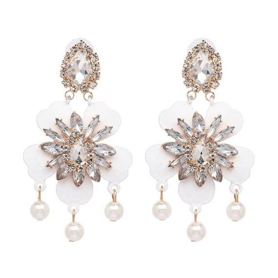 Cercei lungi flori albe cu cristale si perle Azalea