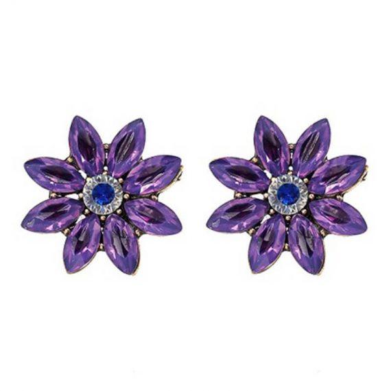 Cercei rotunzi aurii floare cristale mov Ballerina Purple