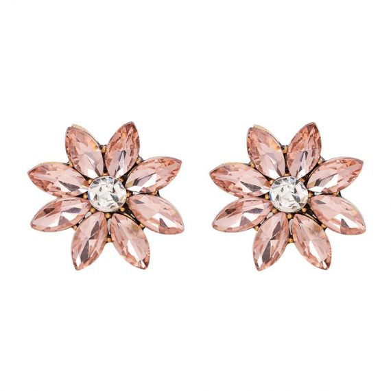 Cercei rotunzi aurii floare cristale roz Ballerina Pink