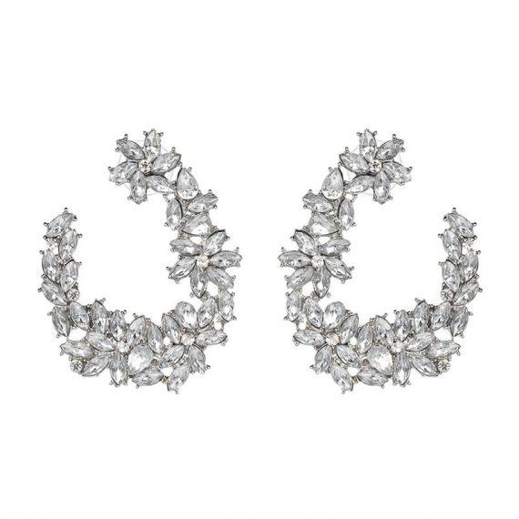Cercei rotunzi florali argintii cristale mici albe Angelina