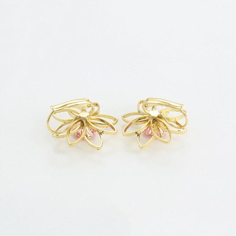 Cercei Flower Mist roz placati cu aur 14K