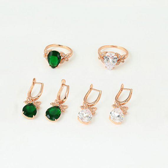 Set cercei si inel Jenny placat cu aur roz