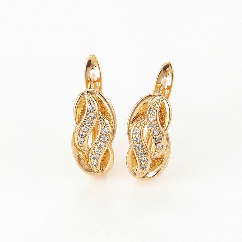 Set cercei si inel Amira placat cu aur 18K