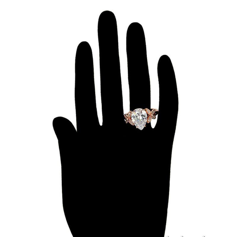 Set cercei si inel Jenny Red placat cu aur roz