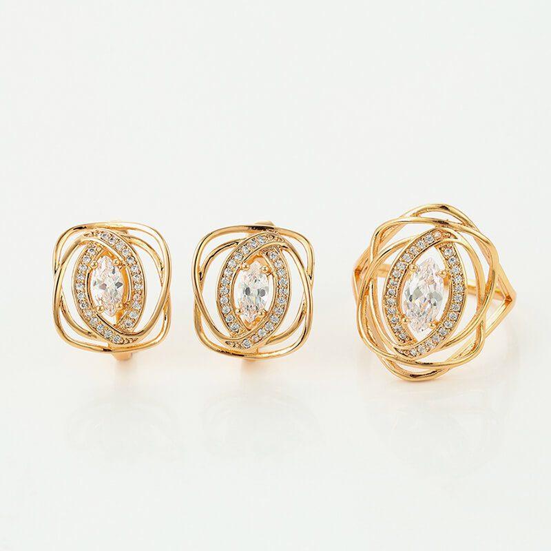 Set cercei si inel Zenda placat cu aur 18K