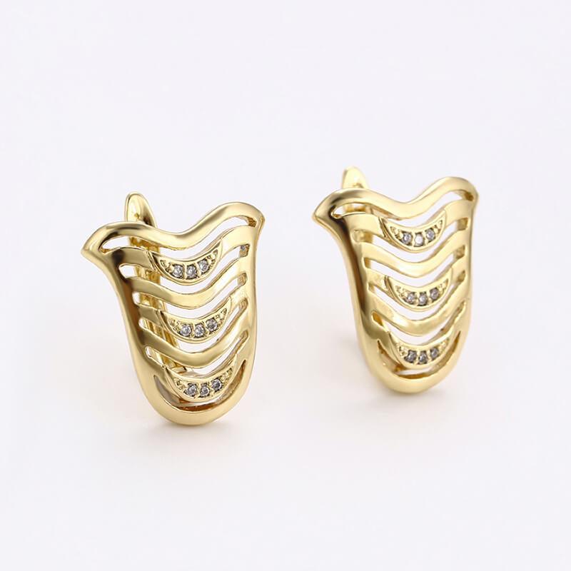 Set cercei și inel Alessia placat cu aur 14K