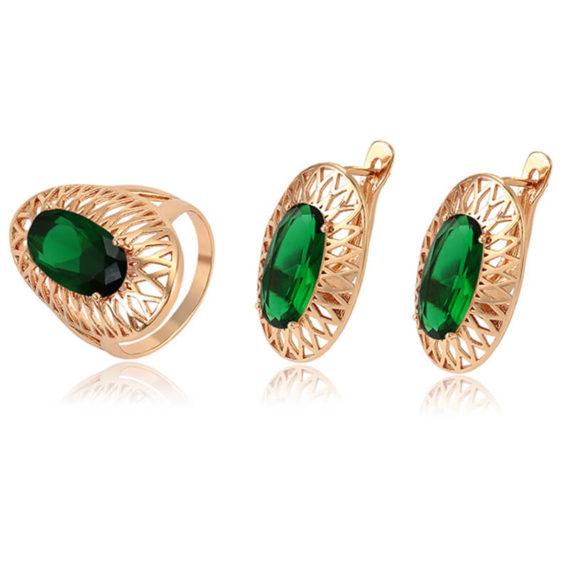 Set cercei și inel Anca Green placat cu aur roz
