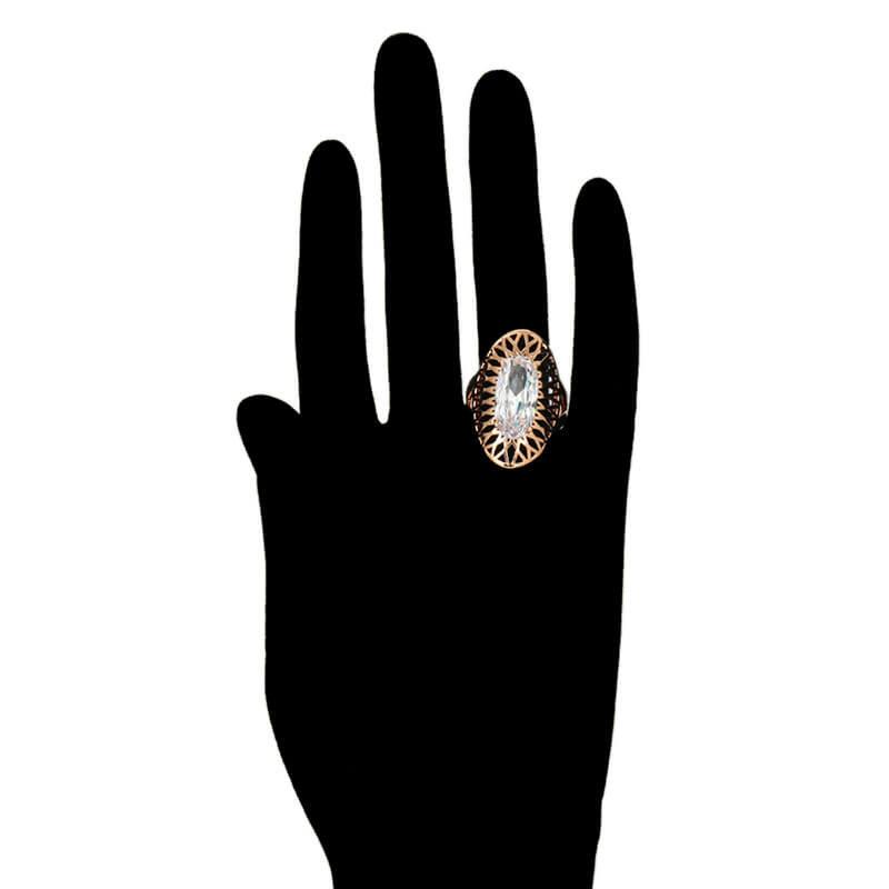 Set cercei și inel Anca White placat cu aur roz