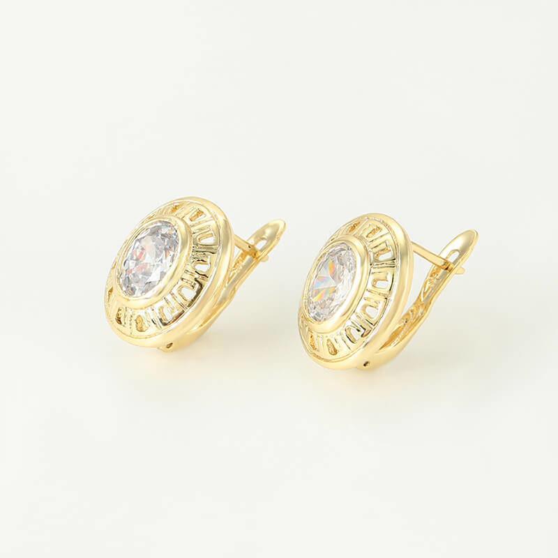 Set cercei și inel Dina placat cu aur 14KSet cercei și inel Dina placat cu aur 14K