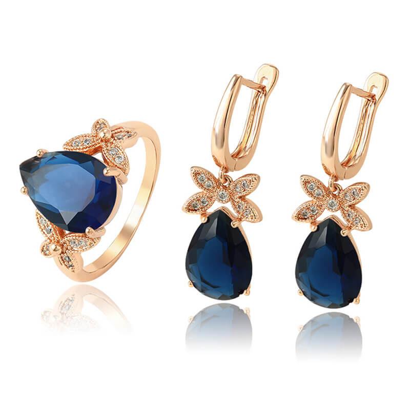 Set cercei și inel Jenny Blue placat cu aur roz