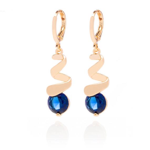 Cercei Blue Sapphire placati cu aur 18K