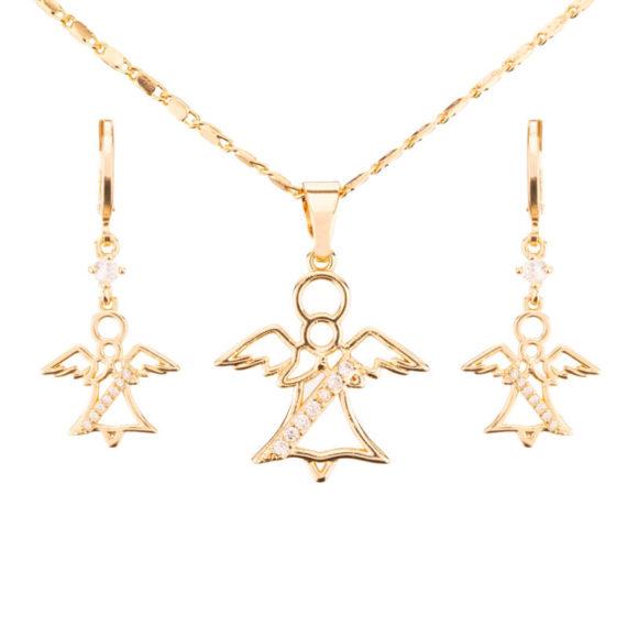 Set cercei si pandantiv placat cu aur 18K Angel