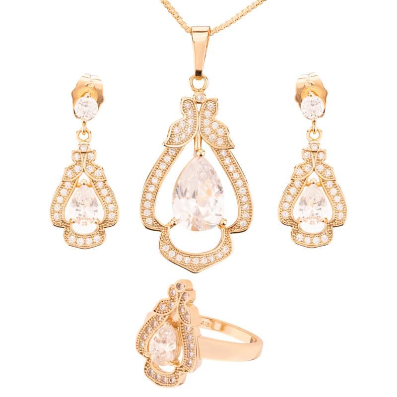 Set cercei, pandantiv si inel Elsa placat cu aur 18K