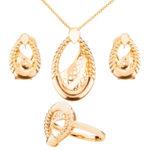 Set cercei, pandantiv si inel Michelle placat cu aur 18K