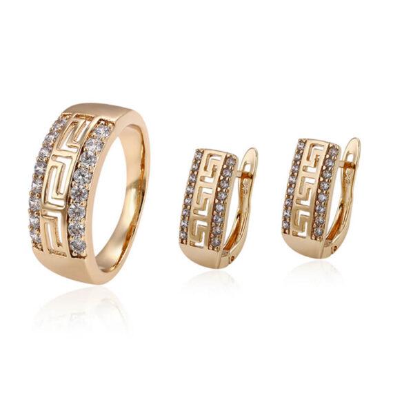 Set cercei și inel Athena placat cu aur 18K