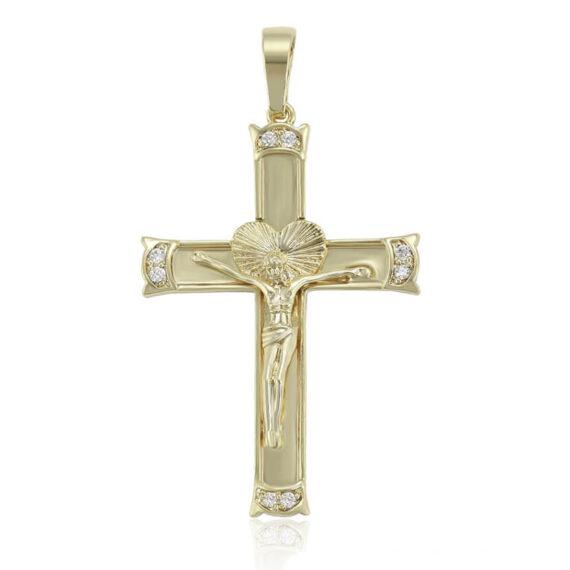 Colier cu pandantiv cruce Cross III placat cu aur 14K, cu lănțișor inclus