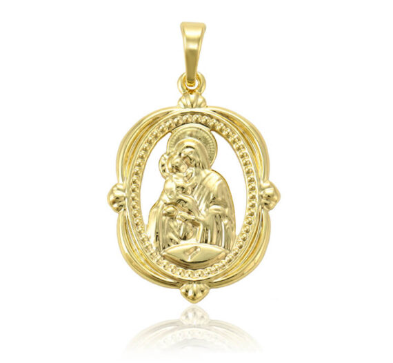 Pandantiv Mary placat cu aur 14K, cu lănțișor inclus
